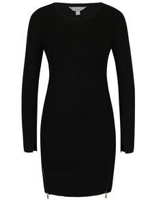 Čierne svetrové šaty s ozdobnými zipsmi Dorothy Perkins Petite