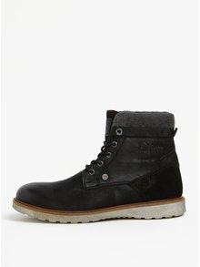 Čierne pánske kožené členkové zimné topánky s.Oliver