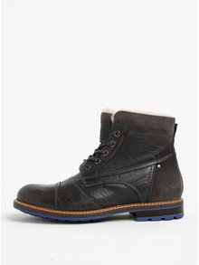 Tmavosivé pánske kožené členkové zimné topánky s.Oliver