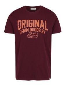 Oranžovo-vínové tričko s potlačou Shine Original