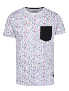 Tricou alb cu print de Craciun si buzunar Shine Original