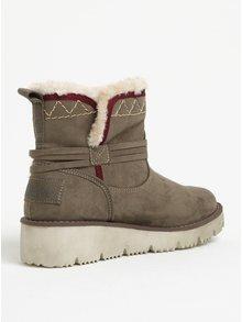 Kaki dámske zimné členkové topánky v semišovej úprave s.Oliver