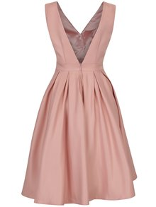 Světle růžové šaty s výstřihem na zádech Chi Chi London Aymee