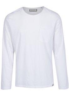 Bílé tričko s dlouhým rukávem a náprsní kapsou Shine Original