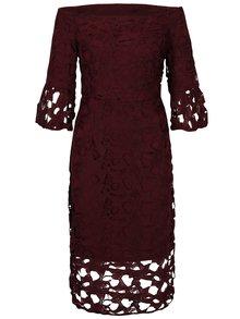 Vínové čipkované šaty s odhalenými ramenami Dorothy Perkins