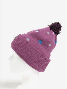 Fialová vzorovaná dámska čiapka s brmbolcom MEATFLY Dot Beanie