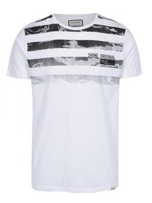 Tricou alb din bumbac cu dungi - Shine Original