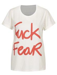 Tricou crem&rosu cu print text pentru femei Aer Wear Fuck Fear