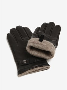 Černé pánské kožené rukavice s páskem KARA