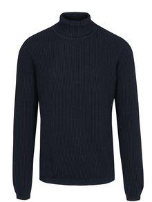 Bluza bleumarin cu guler inalt si striatii verticale - Shine Original
