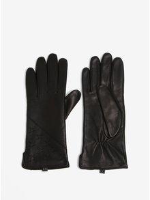 Černé dámské kožené rukavice s ozdobným detailem KARA