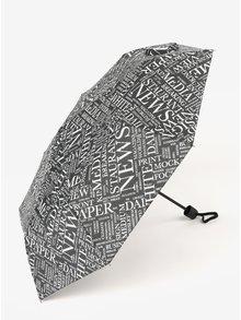 Čierny vzorovaný skladací dáždnik Derby