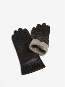 Černé dámské kožené rukavice se zdobením KARA