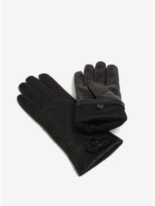 Černé dámské kožené prošívané rukavice s mašlí KARA