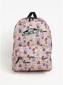 Růžový vzorovaný batoh VANS Peanuts 22 l