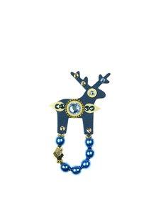 Tmavě modrá brož jelínek s komponenty Preciosa Components Deers