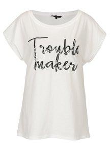 Krémové tričko s výšivkou a flitrami VERO MODA Nina