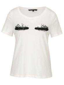 Krémové tričko s motívom zatvorených očí VERO MODA Eye