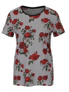 Bielo-čierne pruhované tričko s motívom ruží Noisy May Hayden