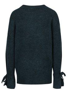 Tmavozelený melírovaný sveter s mašľami VERO MODA Cersei