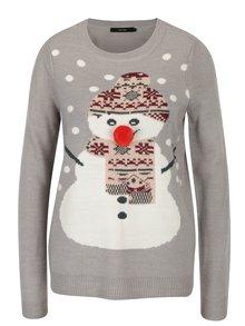 Svetlosivý sveter s brmbolcom a motívom snehuliaka VERO MODA Snowie