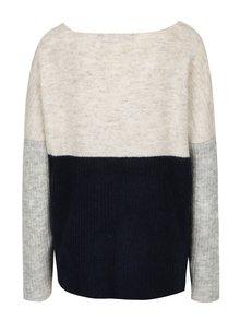 Tmavomodrý melírovaný sveter s prímesou vlny VERO MODA Fortuna