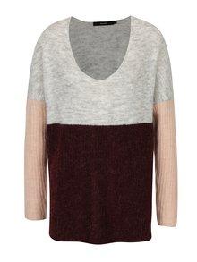 Vínový melírovaný sveter VERO MODA Fortuna
