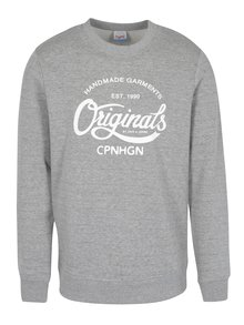 Bluza gri deschis&alb cu print text  Jack & Jones Originals Softneo