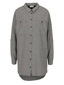 Krémovo-čierna dlhá vzorovaná košeľa Noisy May Erik