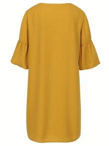 Horčicové šaty s 3/4 zvonovým rukávom VERO MODA Perfect