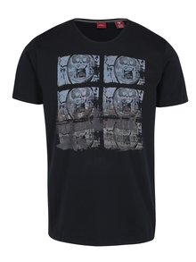Tricou regular fit bleumarin cu print abstract s.Oliver