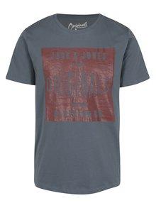 Modrošedé tričko s potiskem Jack & Jones Originals Stood Tee