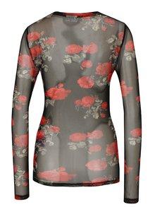 Bluza translucida neagra cu imprimeu floral - Noisy May Naya