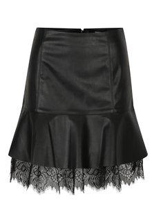 Čierna koženková sukňa s čipkou VERO MODA Lucia