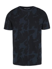 Tricou bleumarin din bumbac cu print abstract - ONLY & SONS Manfred