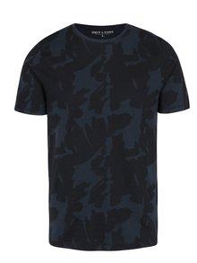 Modré vzorované tričko ONLY & SONS Manfred