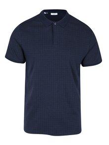 Tmavě modré polo tričko s jemným vzorem Selected Homme Delan