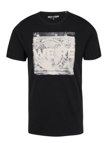 Tricou negru din bumbac cu print abstract - ONLY & SONS Maceo