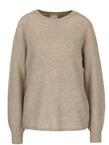 Béžový melírovaný sveter s prekladaným chrbtom VILA Samira