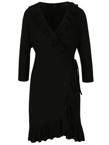 Čierne zavinovacie šaty s volánmi VERO MODA Henna