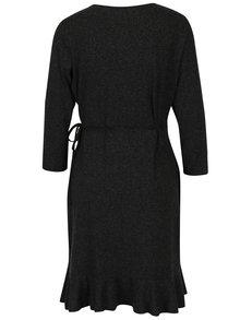 Tmavosivé zavinovacie šaty s volánmi VERO MODA Henna