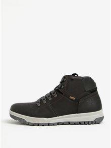 Čierne pánske kožené členkové topánky Weinbrenner