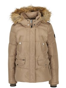 Béžová zimná prešívaná bunda s kapucňou VERO MODA Fea