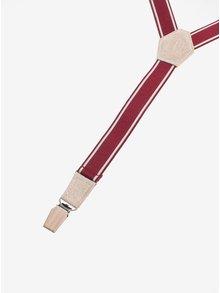 Bretele rosii cu detalii din lemn si piele pentru barbati - BeWooden Illa Suspenders