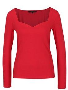 Červené tričko s tvarovaným dekoltom VERO MODA Holly