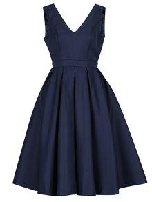 Tmavomodré šaty s výstrihom na chrbte Chi Chi London Zara