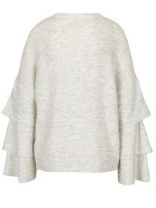 Krémový žíhaný svetr s volány ONLY Flower