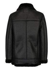 Čierna koženková bunda s umelým kožúškom ONLY Dia