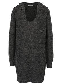 Tmavosivý melírovaný dlhý sveter s kapucňou Jacqueline de Yong Aika
