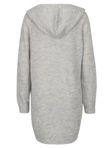 Svetlosivý melírovaný dlhý sveter s kapucňou Jacqueline de Yong Aika